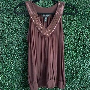 Brown Jersey Sequin Tank